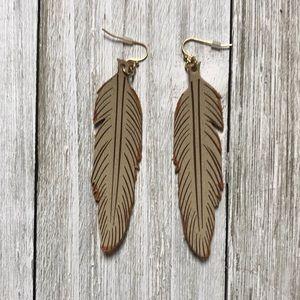 Tan long leafy earrings